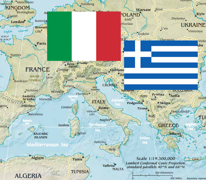 Italy greece vacation zepfanman flags and map of italy and greece gumiabroncs