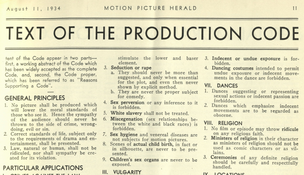 Text of the 1934 Production Code